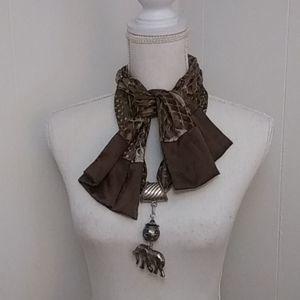 Elephant scarf jewelry & Brown scarf
